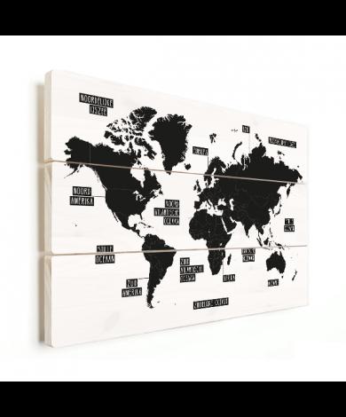 Einfache Weltkarte Schwarz-Weiß Holz