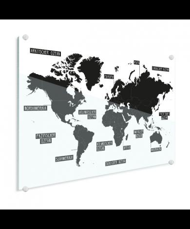 Einfache Weltkarte Schwarz-Weiß Acrylglas