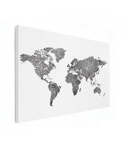 Fingerabdruck Weltkarte Schwarz-Weiß Leinwand