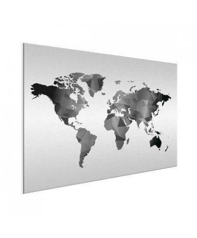 Geometrische Weltkarte Schwarz-Weiß Aluminium