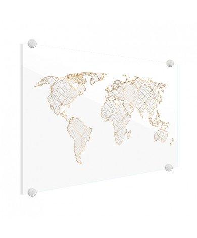 Geometrisch gold-hellgrau Acrylglas