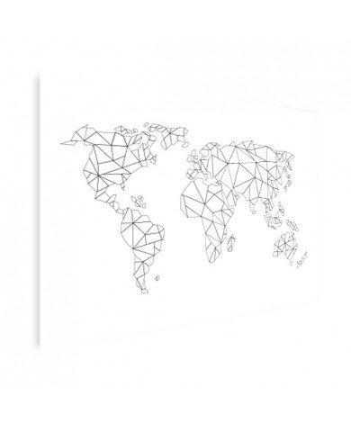 Geometrische Weltkarte Linien Poster
