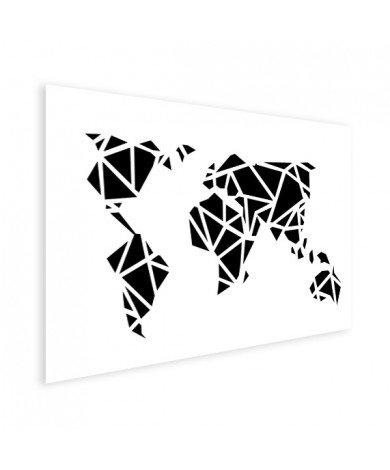 Geometrische Weltkarte Schwarz Poster