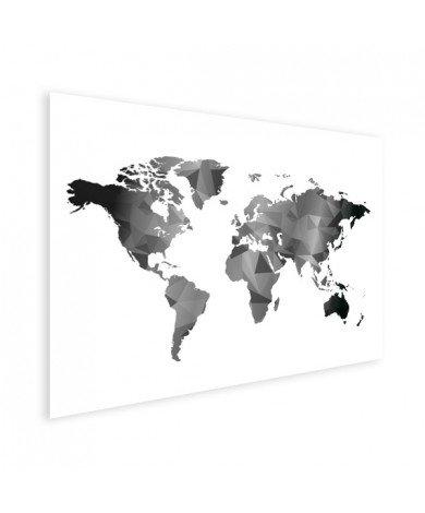 Geometrische Weltkarte Schwarz-Weiß Poster