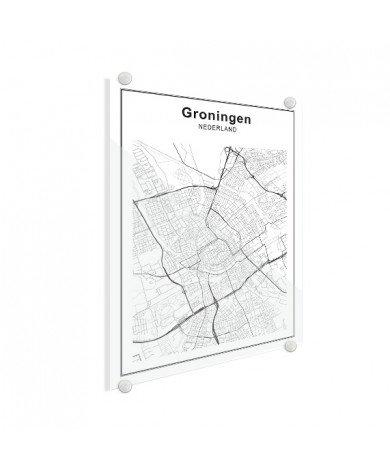 Stadtkarte Groningen Schwarz-Weiß Glas