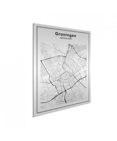 Stadtkarte Groningen Schwarz-Weiß Aluminium