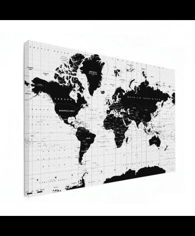 Weltkarte Informativ Leinwand