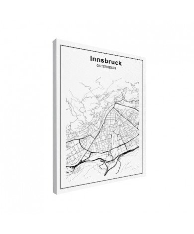 Stadtkarte Innsbruck Schwarz-Weiß Leinwand