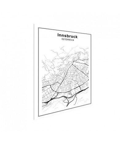 Stadtkarte Innsbruck Schwarz-Weiß Poster