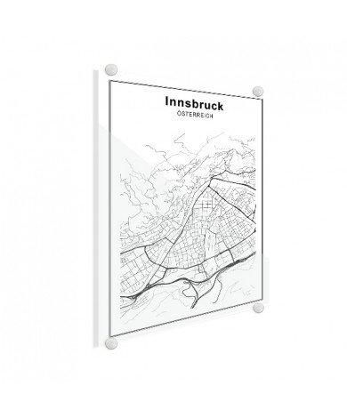 Stadtkarte Innsbruck Schwarz-Weiß Glas