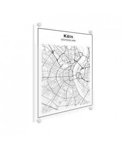 Stadtkarte Köln Schwarz-Weiß Glas