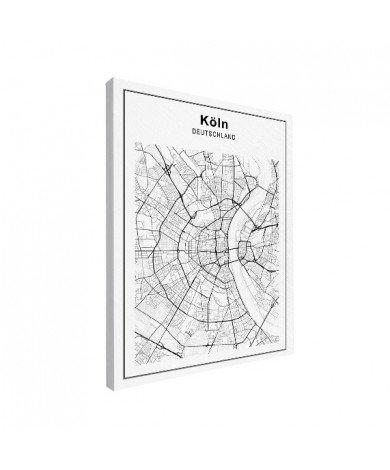 Stadtkarte Köln Schwarz-Weiß Leinwand