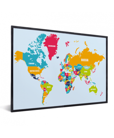 Weltkarte Ländernamen im Rahmen