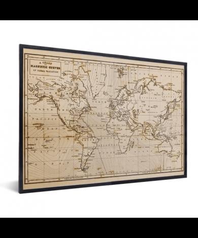 Weltkarte Magnetic Curves im Rahmen