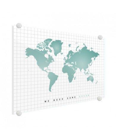 Weltkarte Minzgrün Acrylglas