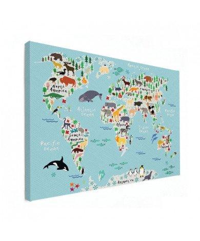 Weltkarte unser Tierreich Leinwand