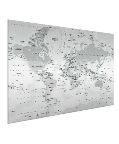 Realistische Weltkarte Graustufen Aluminium