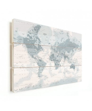 Realistische Weltkarte Graustufen Holz
