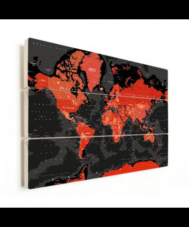 Weltkarte Rot - Schwarz Holz