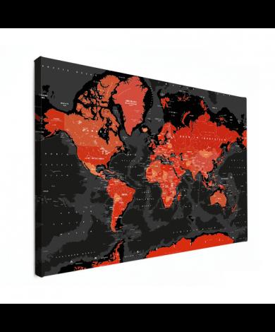 Weltkarte Rot - Schwarz Leinwand
