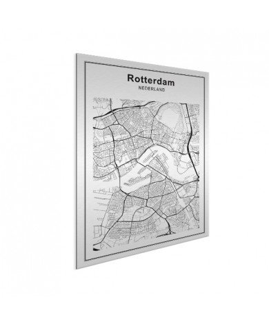 Stadtkarte Rotterdam Schwarz-Weiß Aluminium