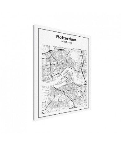 Stadtkarte Rotterdam Schwarz-Weiß Leinwand