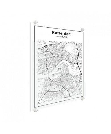 Stadtkarte Rotterdam Schwarz-Weiß Glas