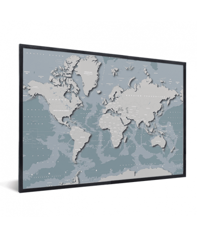 Coole Weltkarte im Rahmen