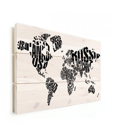 Weltkarte Text schwarz Holz