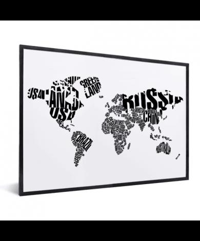 Weltkarte Text Schwarz im Rahmen
