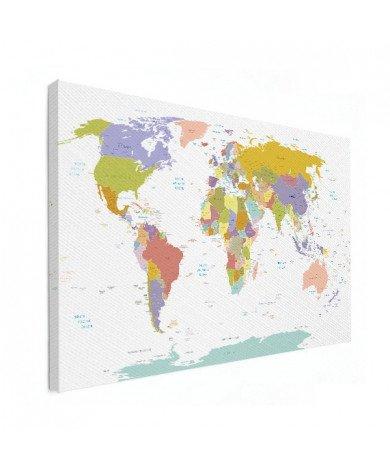 Weltkarte Pastellfarben Leinwand