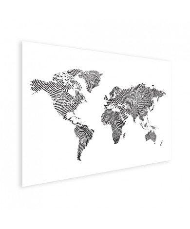 Fingerabdruck Weltkarte Schwarz-Weiß Poster