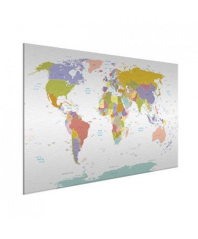 Weltkarte Pastellfarben Aluminium