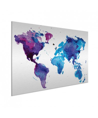 Weltkarte Aquarell blau Aluminium