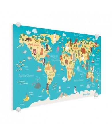Weltkarte Kontinente & Meere Acrylglas