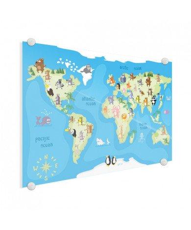 Weltkarte Tanzende Tiere Acrylglas