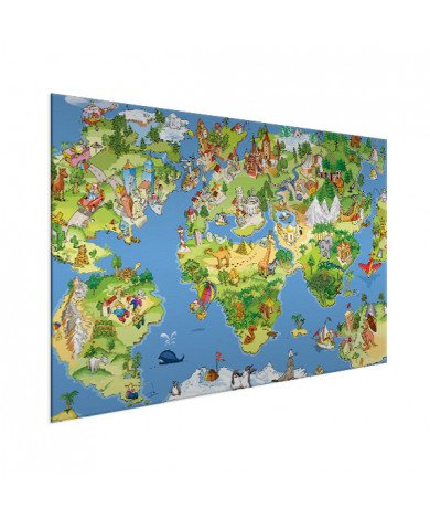 Weltkarte Tiere & Gebäude Aluminium
