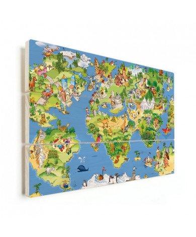 Weltkarte Tiere & Gebäude Holz