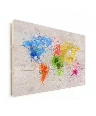 Weltkarte Farbspritzer bunt Holz