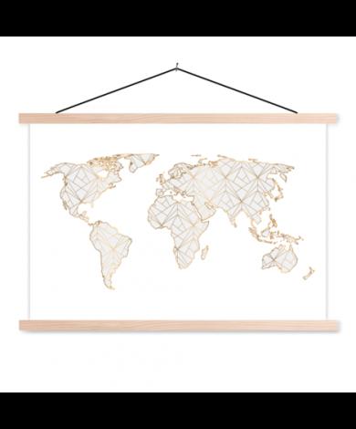 Geometrisch gold-hellgrau Textilposter