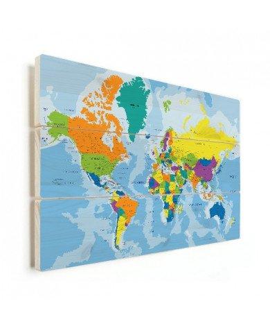 Weltkarte Grelle Farben Holz