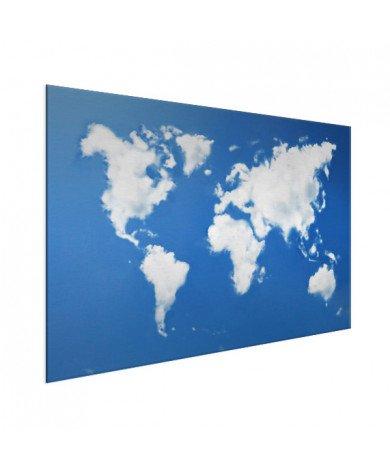 Weltkarte Wolken Aluminium