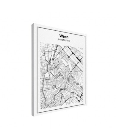 Stadtkarte Wien Schwarz-Weiß Leinwand