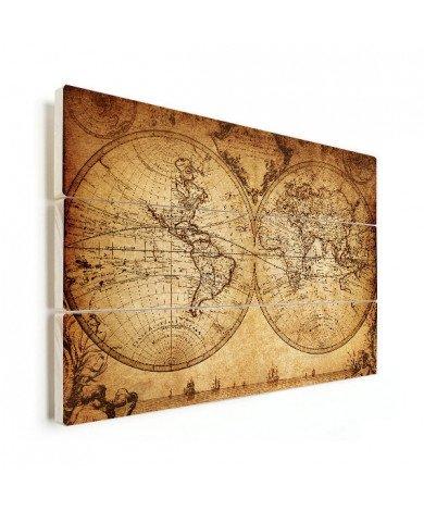 Weltkarte Seefahrt Holz