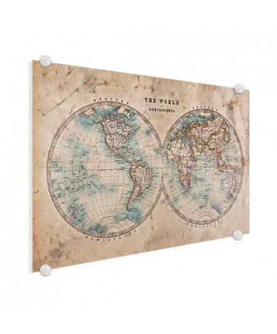 Weltkarte Halbkugeln Acrylglas