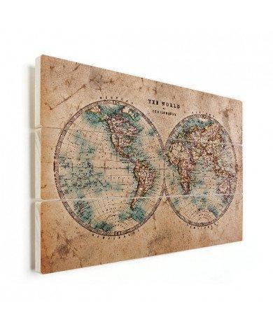Weltkarte Halbkugeln Holz