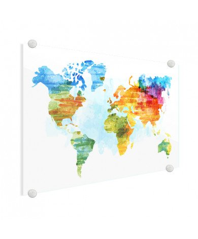 Weltkarte Aquarell bunt Acrylglas