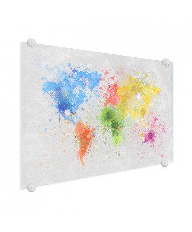 Weltkarte Farbspritzer bunt Acrylglas