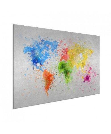 Weltkarte Farbspritzer bunt Aluminium