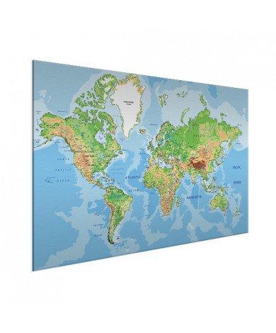 Weltkarte Geografisch Aluminium